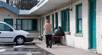 A tenant at the notorious Eastside Motel along Kingston Road.