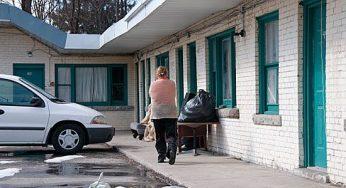 A tenant at the notorious Eastside Motel along Kingston Road.