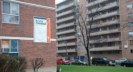 A Toronto Community Housing building under improvement.