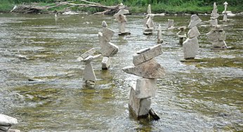 Toronto photographer Peter Riedel balanced rocks in a shallow portion of the Humber River to create the 39 sculptures that were discovered on the weekend near the old Mill.