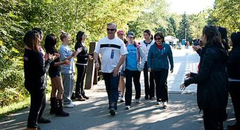Walkers and runners at Sept. 19's Terry Fox Run get encouragement to keep going.