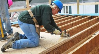 Volunteers learn new skills to help build 29 townhouses at 4572 Kingston Rd. on Sept. 24. From Sept. 20 to 25, the Habitat for Humanity Toronto ReTooling Blitz Build attracted more than 900 people.