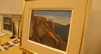 Storyteller Adèle Koehnke brings her grandmother Doris Huestis Mills Speirs' story and art to life at Morningside Library Oct. 7. Koehnke displayed several works painted by her grandmother, including this favourite depicting her step-grandfather looking out at a lake.