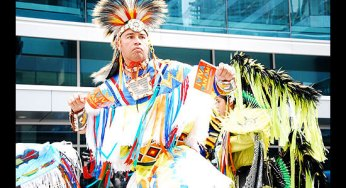 First Nations dancers add colour and excitement to the unveiling of the 2015 Pan Am Games logo outside the Air Canada Centre on Sept. 29.