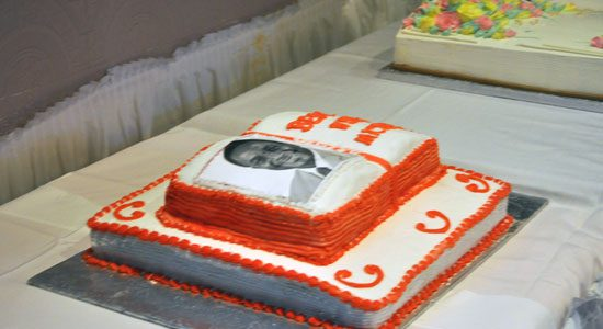Michael Thompson's home-made victory cake.