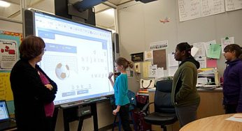 A Cedar Drive student scores a goal playing hang man with the Smart Board. If the students choose the right letter a soccer ball scores a goal.