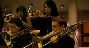 The Agincourt Collegiate Band performs at the Scarborough Civic Centre tree-lighting event Dec. 1. The event also included several other performances.