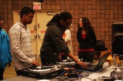 DJ Craig Brooklyn chooses the next song to jam and improvise over during a free March 16 event hosted by Scratch Labs DJ Institute and the Malvern library.