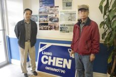 Volunteers Richard Soong (left) and Ching Jui Shen have been encouraged to come out and join Liang Chen's canvassing team.