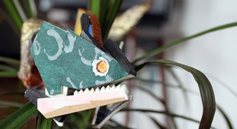 One of the finished sea creatures from art installation So Deep sits on a fern in artist Gustavo Cerquera's apartment before moving to the Gladstone Hotel for Nuit Blanche. Cerquera and artistic collaborator Halley Rigbey showed So Deep at the Gladstone Hotel's Nuit Blanche event, Fly By Night, on Oct. 1.