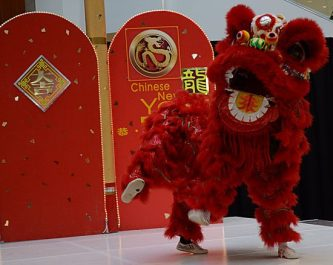 Kavin Ketheeswaran and David Man perform the lion dance Sunday to help ring in the Year of the Dragon. The lion dance is accompanied by traditional rhythmic druming.