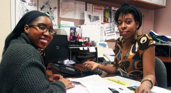 Nadia Harris (right), youth worker at the Scarborough Youth Resource Centre (SYRC) discusses upcoming events with new youth leader, Shavelle Campbell, 16, on Feb.,17. The SYRC, located on the upper level of the Scarborough Town Centre, 300 Borough Dr., Scarborough, runs mentorship and job placement programs exclusively for young people.