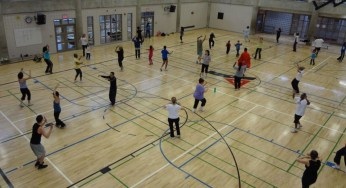 Families gathered at the Scarborough YMCA for a couple hours of some fun family Zumba