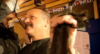 Larry Kosowan held a fundraiser for the Scarborough Women's Centre the evening of April 17, while also cutting and then donating his locks of hair.