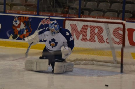 Jussi Rynnas warms up before facing the Grand Rapids Griffins on Oct. 21 at the Ricoh Colliseum.