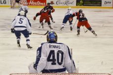 The Marlies goaltender watches as the play turns to the other end against the Griffins.