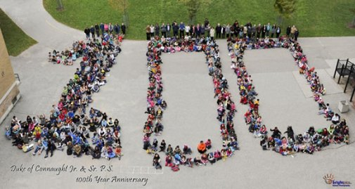 Current staff and students celebrate Duke of Connaught Public School's 100th Anniversary. Frank Hamilton, who graduated from the school almost 50 years ago, says the school was more heavily populated back then. 'When I went to the homecoming, a lot of lockers were left empty because they just don't have enough students like they used to,' he says.