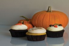 Pumpkin Spice (front), Chocolate Orange (left) and Sweet Tooth (right) are the three seasonal cupcakes for this Fall