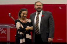 Mulcair was accompanied by his wife Catherine Pinhas.