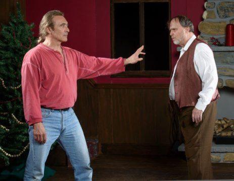 Jack Kipp (Alex Bortoluzzi, left) has had enough with the inn owner and alcoholic Ben Ryan (Rob Pristas)