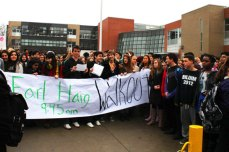 """For 30 minutes, students held up signs and shouted, """"We want extracurricular now."""""""