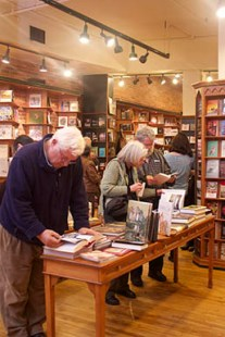Customers browse the book table at Nicholas Hoare's Toronto location, November 2012