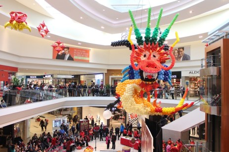 A large balloon snake added colours to the shopping centre before the event.