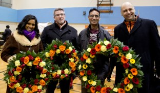 From right: NDP MP's Rathika Sitsabaiesan, Craig Scott and Matthew Kellway.