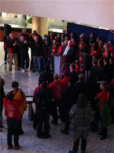 Mayor Rob Ford meets with pro-casino union workers in the lobby of city hall. April 15,2013