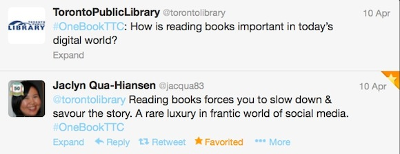 Screen shot of Twitter chat about Fahreinheit 451 for Toronto Public Library's One Book Club, April 2013.