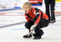 Eve Muirhead hollers at a shot in her comeback victory on Saturday. Photo: Ryan Horne