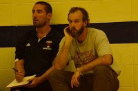 Coach Campbell (right) and assistant Mike De Giorgio watch from the bench. Photo by Ryan/Toronto Observer