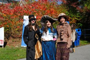 Several ladies at the Oct. 20 unveiling of the Warden Underpass Mural dressed in vintage clothing to honour the Elizabeth Simcoe theme. 'We thought it would be nice to be in period (dress) because the train is 1920's. Elizabeth Simcoe was late 1700s so we thought it would be fun if all of us artists were in theme with the mural as part of the celebration,' Lamirande said.
