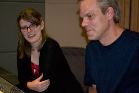Amanda Rabey (left) and Mike Smith at the control panel in Phase One's recording studio.