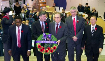 Scarborough councillors, along with Deputy Mayor Norm Kelly, represent the City of Toronto at the Scarborough Civic Centre on Nov. 10.