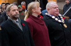 Federal Opposition Leader Thomas Mulcair (on left) nearly rubs shoulders with Toronto Mayor Rob Ford.