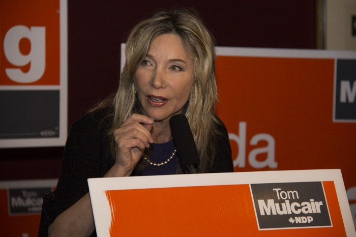 Linda McQuaig seen here giving her speech at The Hot House