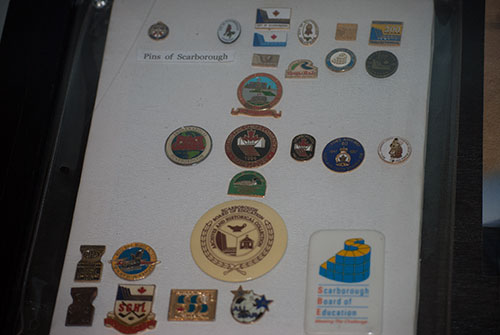 Pins representing the Scarborough community on display