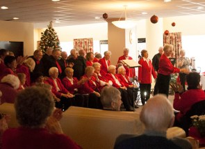 the Scarborough Village Singers is a large group of singers who love to entertain the audience.