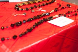 Jewellery was put on display for people to purchase.