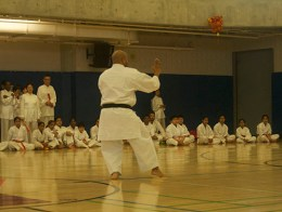A teacher of the Karate group at the Scarborough YMCA demonstrating karate movement, wearing his black belt.