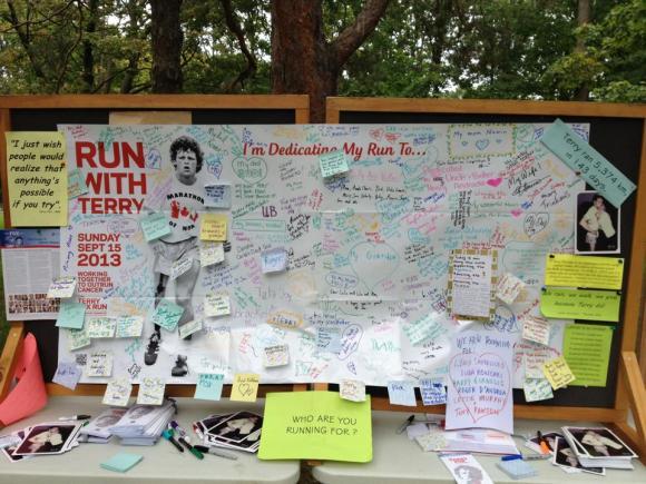 The Terry Fox Run board in High Park