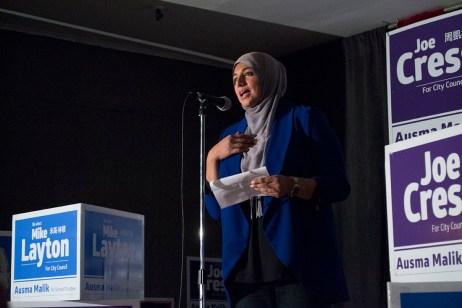 Asuma Malik speaks to supporters at Ryze Toronto