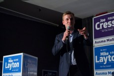 Joe Cressy gives his victory speech to supporters
