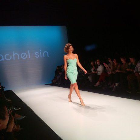 A model debuts part of the evening wear line by Rachel Sin.
