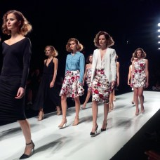 All of the models during their final walk down the runway for Rachel Sin.