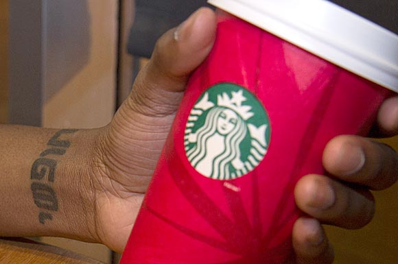 Starbucks barista Myron Mayne's wrist tattoo