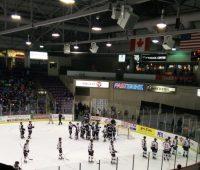 Beast players congratulate goaltender Rollenheiser after a 6-2 victory Friday.
