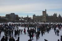 Students gather at King's College Circle for the impending battle in the snow.