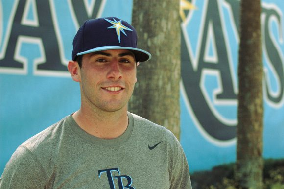 Tampa Bay Rays prospect Matt Ford after batting practice at Charlotte Sports Park in Port Charlotte Fla., on Thursday. Photo by Connor Dorion